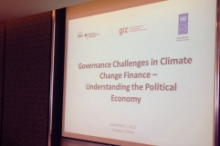 Governance Challenges in Climate Change Finance: Understanding the Political Economy, Incheon, Republic of South Korea, 1st December 2013